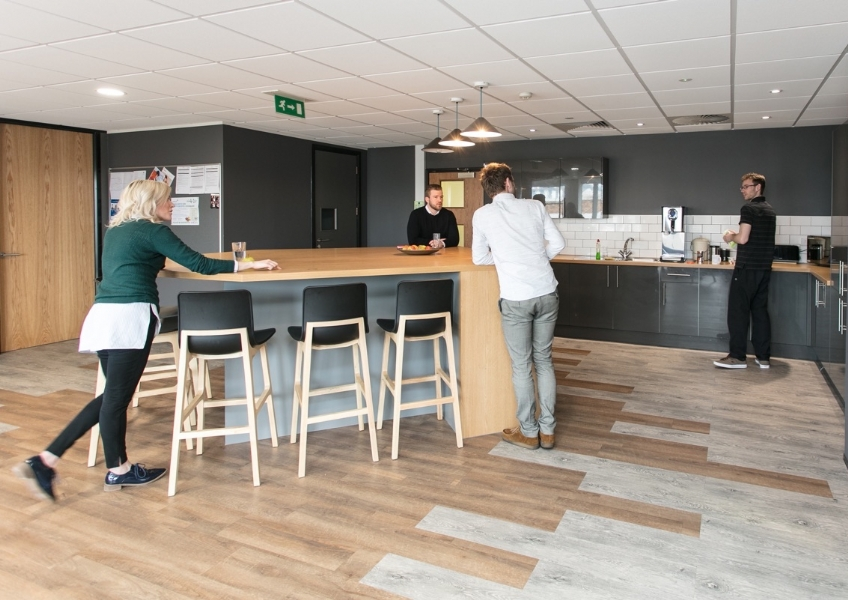 Newly fitted office kitchen and breakfast bar