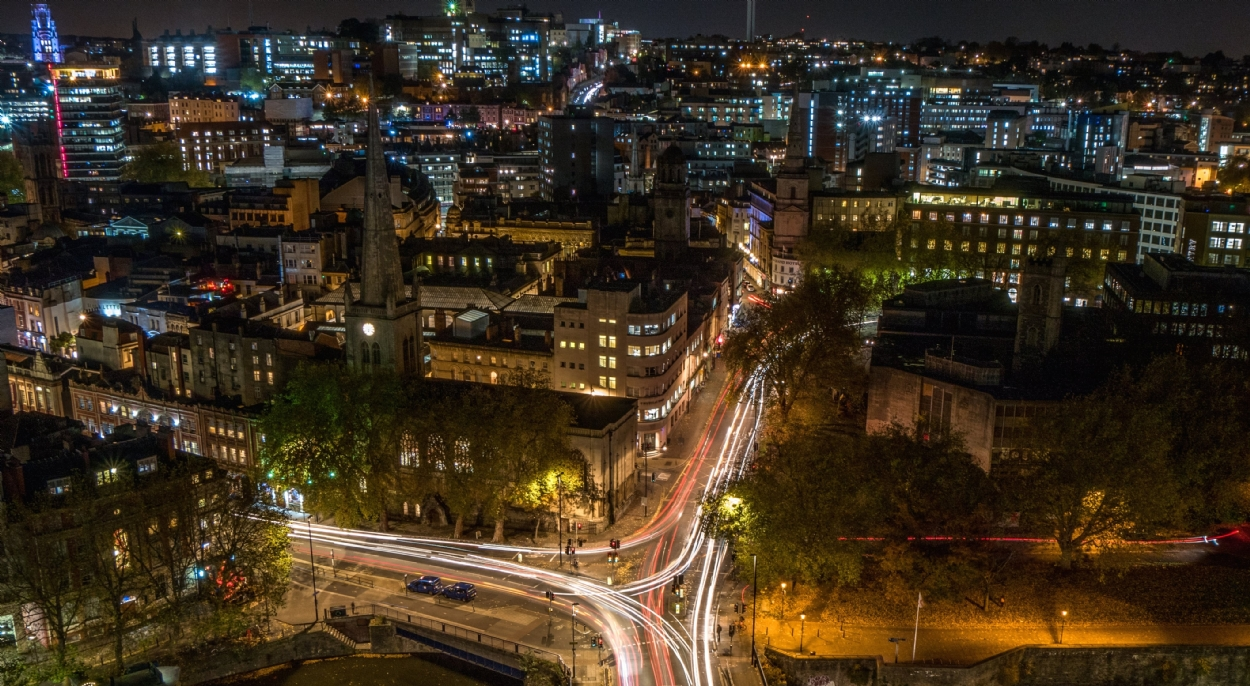 Overhead view of Bristol at night